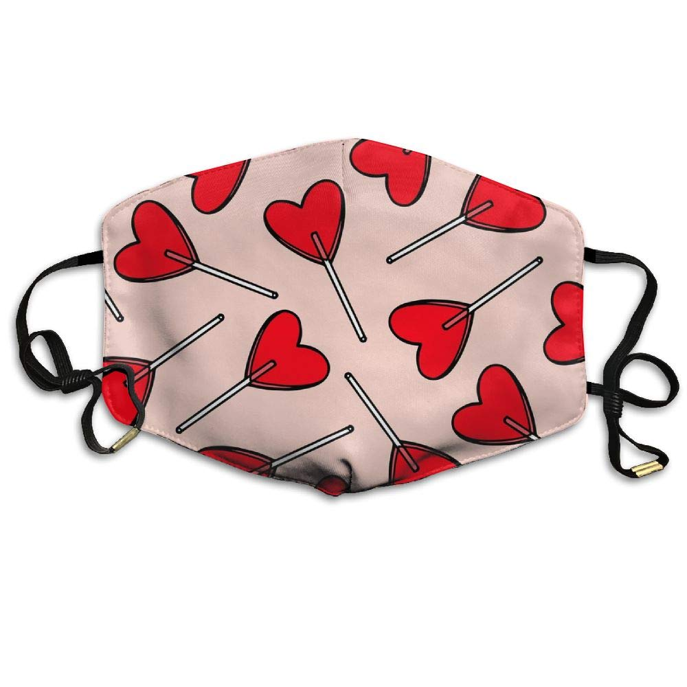 FSXIK Candy Hearts Lollipops Outdoor Protective Cotton Face Mouth Mask Suitable for Adults Ski Cycling Camping Half Face Mouth Masks