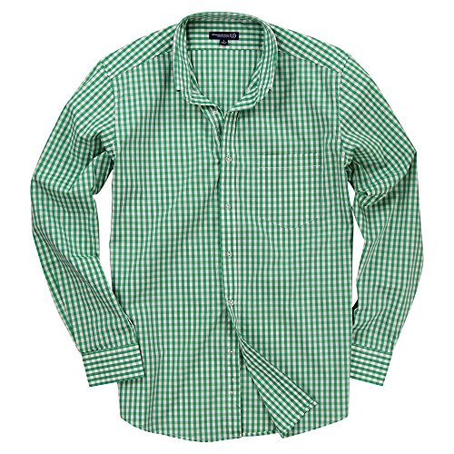 Men's Long Sleeve Button Down Stretch Fit Gingham Plaid Shirt (Green/White Plaid, - Green Dress Gingham