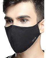 ZWZCYZ N95 Respirator Masks Anti-haze Masks 4 Layer Filter Insert Protective Filter Media Insert Activated Carbon Cotton Mouth Masks (Large(Men's), Black)