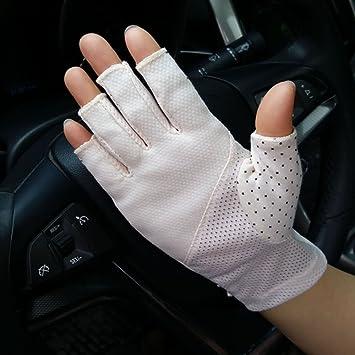 2f18c4e2b YJZQ Women Ladies Anti-skid Half Finger Gloves Elegant Lace Summer UV Protection  Gloves Breathable