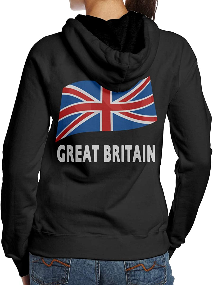 BB/&YYY Flag of Great Britain Womens Pullover Hoodie Sweatshirt Back Print Hoodies