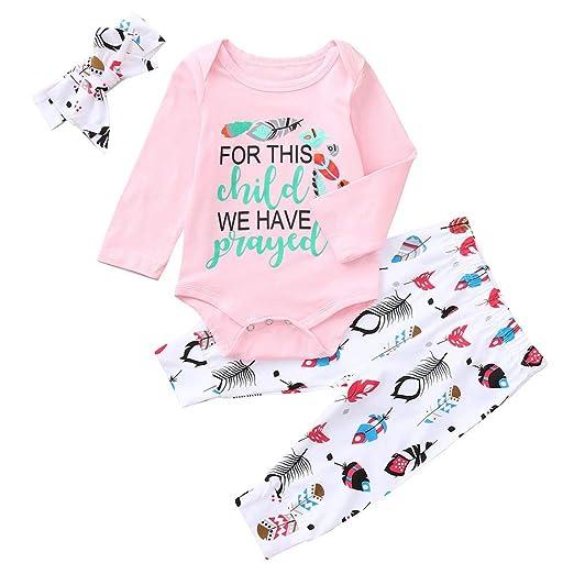 0e538fdfae4fd Amazon.com: Tronet Infant Baby Boys Girls Winter Letter Print Romper+  Floral Print Pants Outfits Set: Clothing
