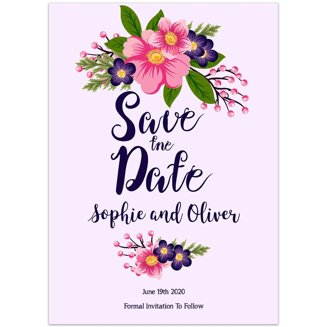 Amazon Com Purple With Pink Flowers Save The Date Card