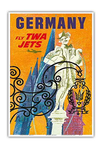 Goose Fountain (Germany - Trans World Airlines Fly TWA Jets - Gansemannchen (Little Goose-Man) Fountain of Nuremberg - Vintage Airline Travel Poster by David Klein c.1960s - Master Art Print - 13in)