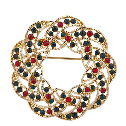 Lux Accessories Gold Tone Green Red Rhinestones Wreath Christmas Xmas Brooch Pin ()