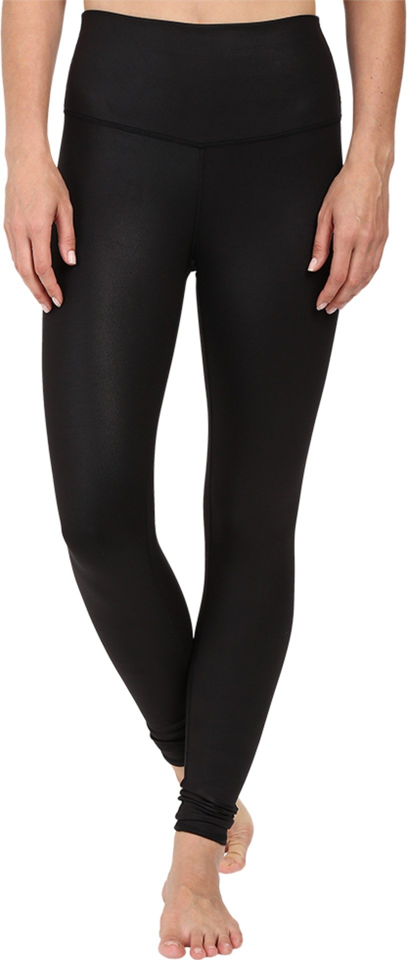 ALO Women's High Waist Airbrushed Leggings Black Glossy Large 28