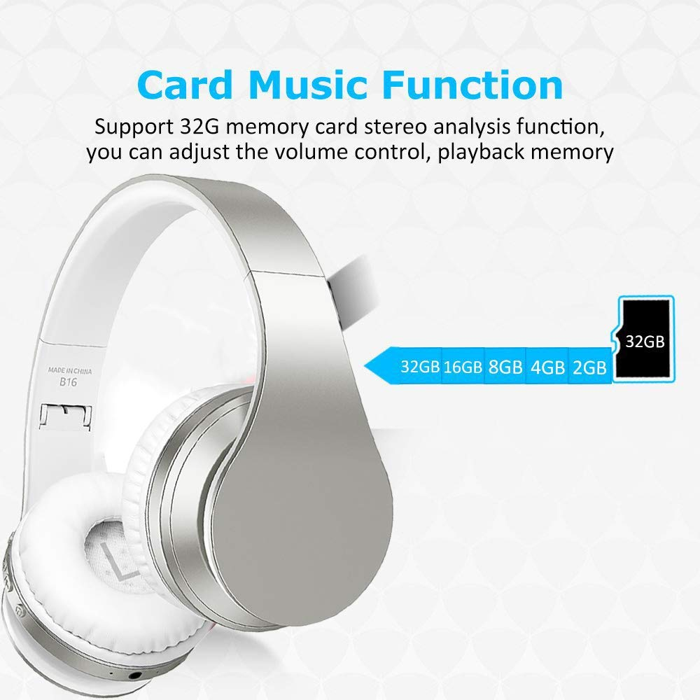 WONFAST Bluetooth Headphone Over-Ear, Upgrade Touch Sensitive Wireless Headset Hi-Fi Stereo Foldable Built-in Micro Support SD TF Card for Bluetooth-Enabled Devices Silver