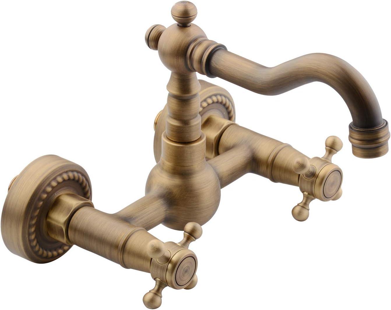 Hiendure®Wall Mounted Brass Bathtub Bathroom Sink Mixer Taps,Antique Brass Finish