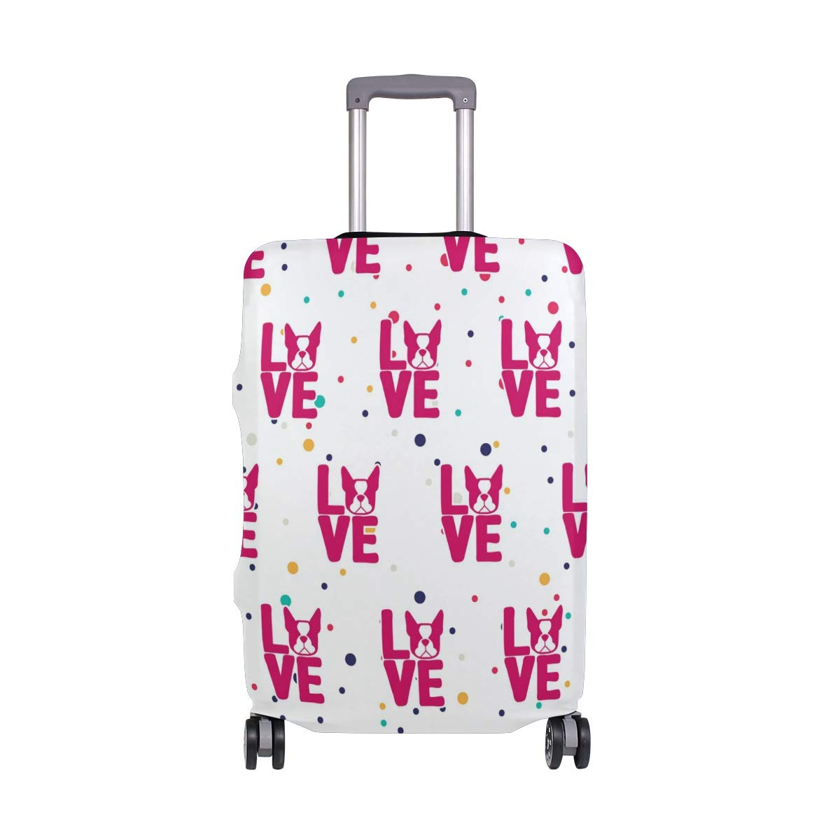 Pink Boston Terrier Love Travel Luggage Cover - Suitcase Protector HLive Spandex Dust Proof Covers with Zipper, Fits 18-32 inch