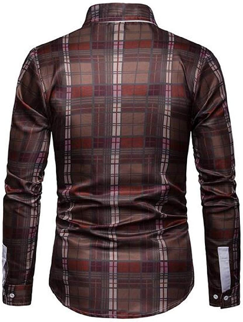 Domple Men Slim Fit Plaid Print Casual Long Sleeve Button Up Dress Checkered Shirt
