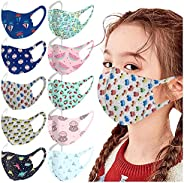 10 Pcs Kids Washable Reusable Face_Masks Breathable Comfort Fabric Skincare Face Protection for Boys Girls Sch