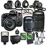 Canon EOS Rebel T6s DSLR Camera + 18-55mm IS STM Lens + EF 75-300mm f/4-5.6 III Lens + Wideangle Lens + Telephoto Lens + 4 PC Macrokit + Card Reader + Tripod + 2 PC 32 GB Memory Cards