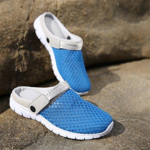 SAGUARO® Unisex respirable de la red del acoplamiento zapatillas de playa ahueca hacia fuera las sandalias Azul