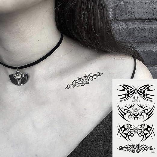 Oottati 2 Hojas Pequeño Lindo Tatuaje Temporal Tattoo Tótem Negro ...