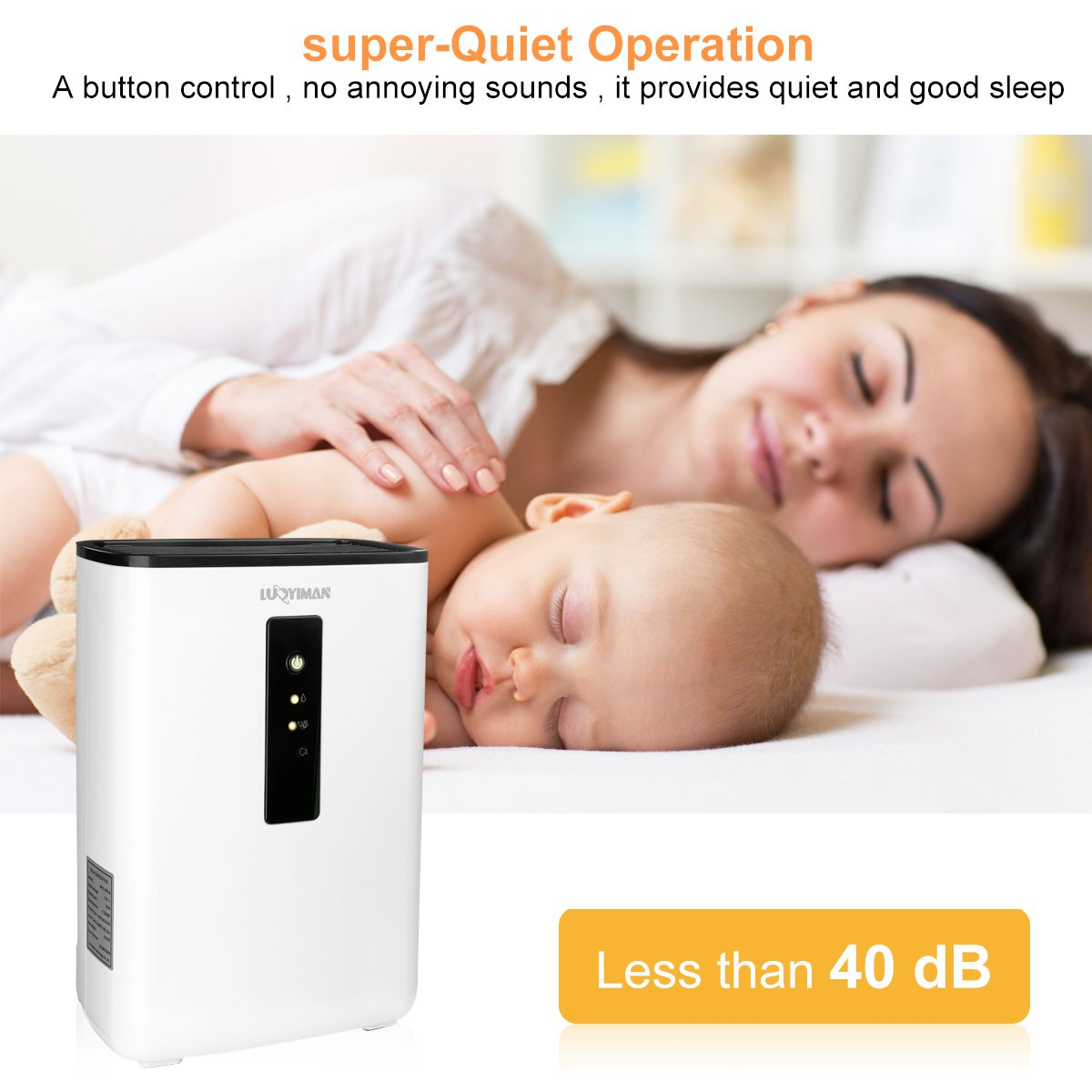 LUOYIMAN Dehumidifier Electric Home Dehumidifier Quiet Operation with UV Sterilization (2.5 Liter) by LUOYIMAN (Image #7)