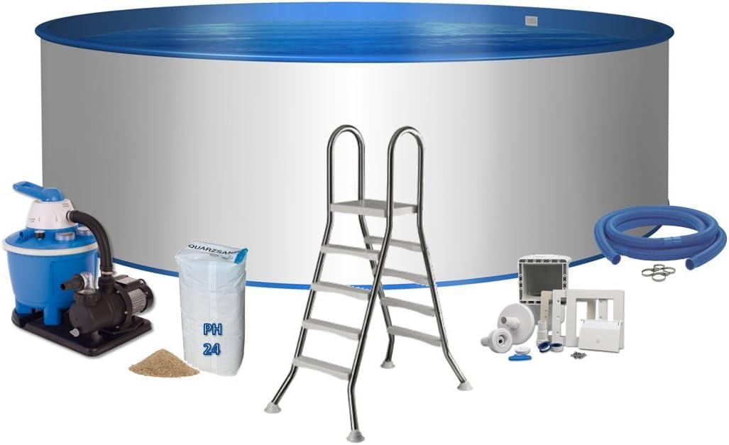 Piscina Premium Forma Redonda Ø 3,5 m x 1,2 m pared de acero 0,6 mm pantalla azul 0,6 mm Cuña Escalera de acero inoxidable 2 x 4 peldaños con plataforma filtro de arena Flow 5 con 5,5 m3/h arena filtr