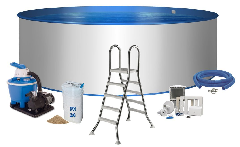 Pool Premium redondo forma Diámetro 4, 5 m x 1, 2 m acero pared 0, 6 mm Pantalla Azul Acero Inoxidable Escalera de 0, 6 mm 2 x 4 peldaños con plataforma ...