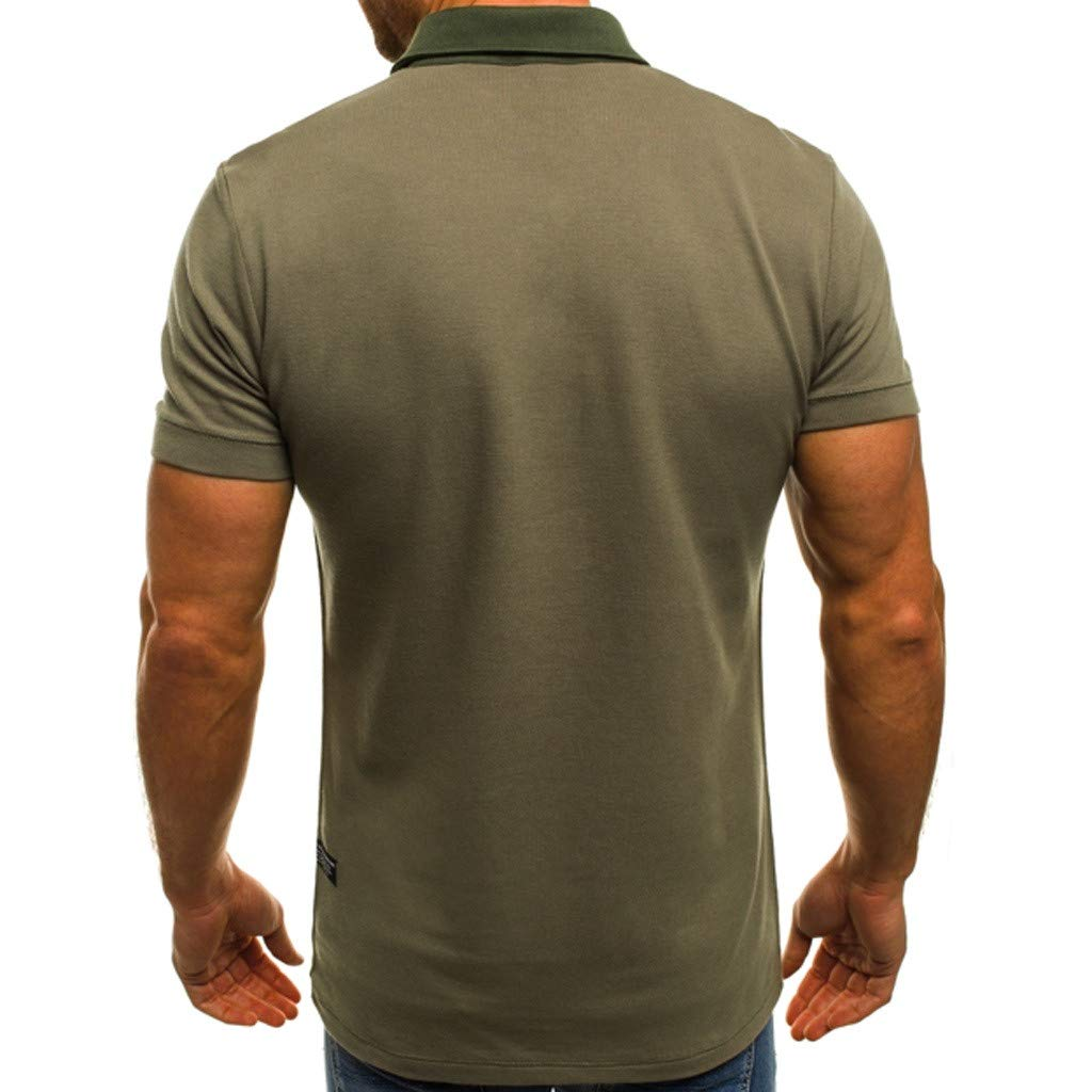 Mens Casual Dress Shirt,Short Sleeve Tunic Cotton Solid Blouse Button Down Tops Regular-Fit T shirt Soft Tee