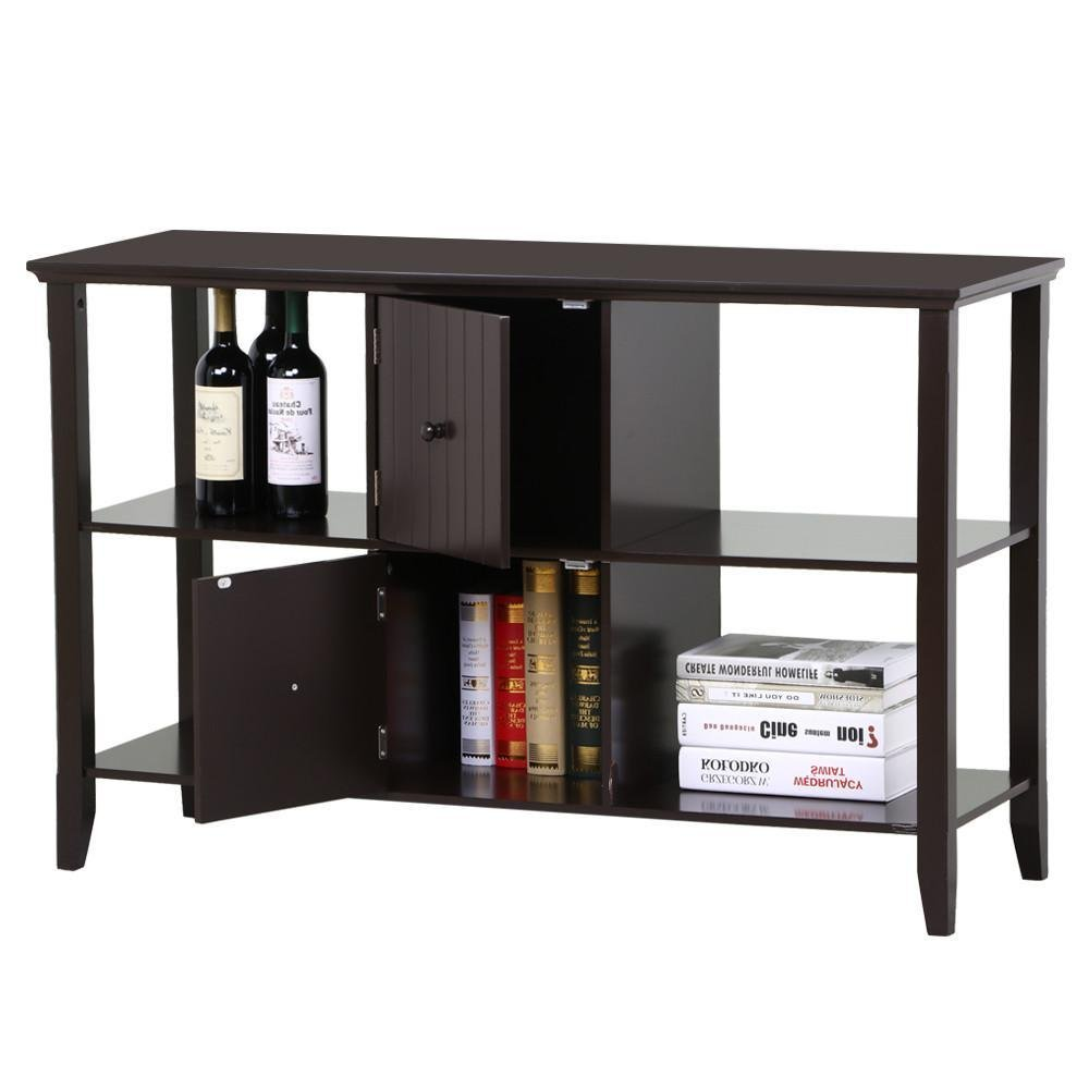 go2buy 3 Tier Solid Wood Sideboard Console Table with 2 Door Storage Cabinets Modern Home Kitchen Furniture, Espresso