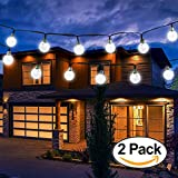 Vivii Solar String Light 20 ft 30 LED Crystal Ball Waterproof String Lights Solar Powered Fairy Lighting for Garden Home Landscape Holiday Decorations White 2 Pack