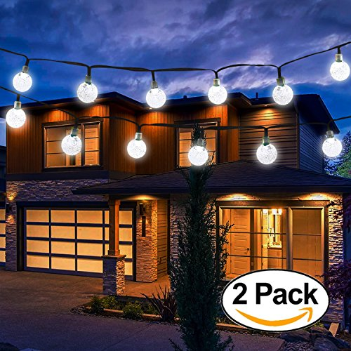 Plastic Solar Lights Hanging (Vivii Solar String Light 20 ft 30 LED Crystal Ball Waterproof String Lights Solar Powered Fairy Lighting for Garden Home Landscape Holiday Decorations, White, 2 Pack)