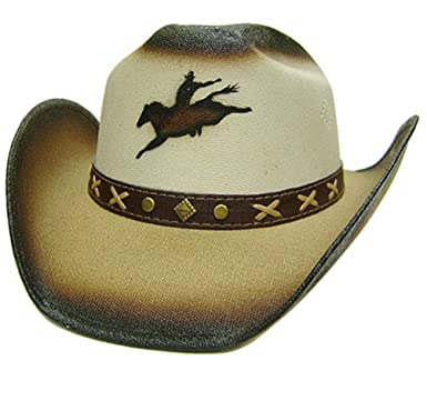 d0e2325340e3c Modestone Unisex Straw Sombrero Vaquero Rodeo Cowboy on Bronco Horse Beige   Amazon.es  Ropa y accesorios
