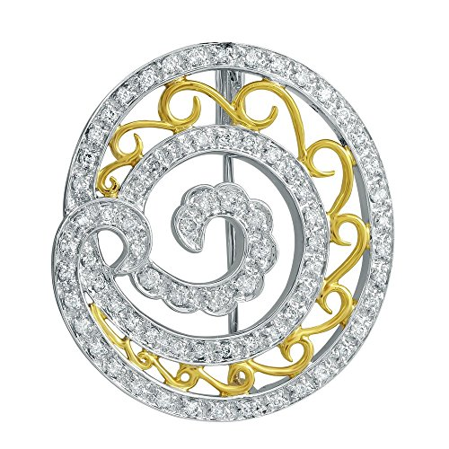 14K Two Tone Yellow Gold Round Brooch (0.66 ctw, K Color, I2 Clarity)