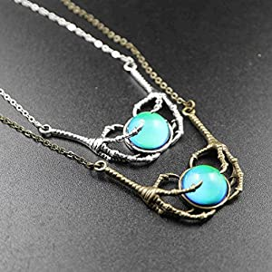 """Ms.Iconic Steam Punk Claw Mood Cabochon Color Changing Pendant Charm Emotion Necklace 18""""+1"""" Extender"""