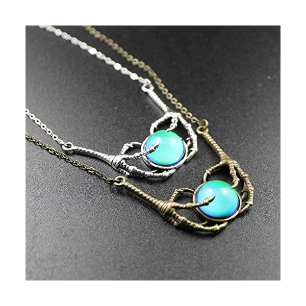 Steam Punk Claw Mood Cabochon Color Changing Pendant Charm Emotion Necklace 18''+1'' Extender 4