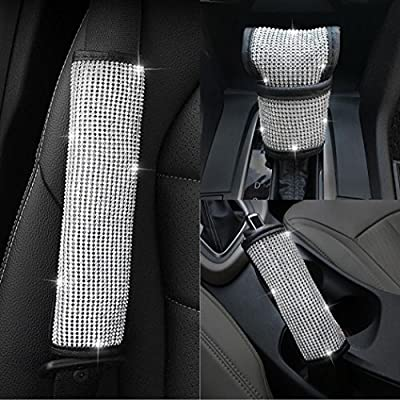 U&M Bling Bling Auto Seat Belt Cover & Handbrake Cover & Shift Gear Cushion Luster Crystal Diamond Car Decor Accessories (3 pcs in 1 Set): Automotive