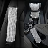 U&M Bling Bling Auto Seat Belt Cover & Handbrake Cover & Shift Gear Cushion Luster Crystal Diamond Car Decor Accessories (3 pcs in 1 Set)