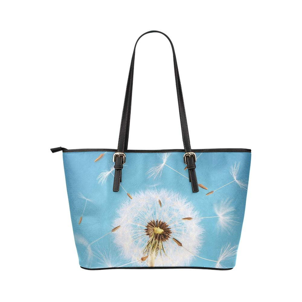 Colorful Dandelion Flower Seed Sunlight Large Soft Leather Portable Top Handle Hand Totes Bags Causal Handbags With Zipper Shoulder Shopping Purse Luggage Organizer For Lady Girls Womens Work