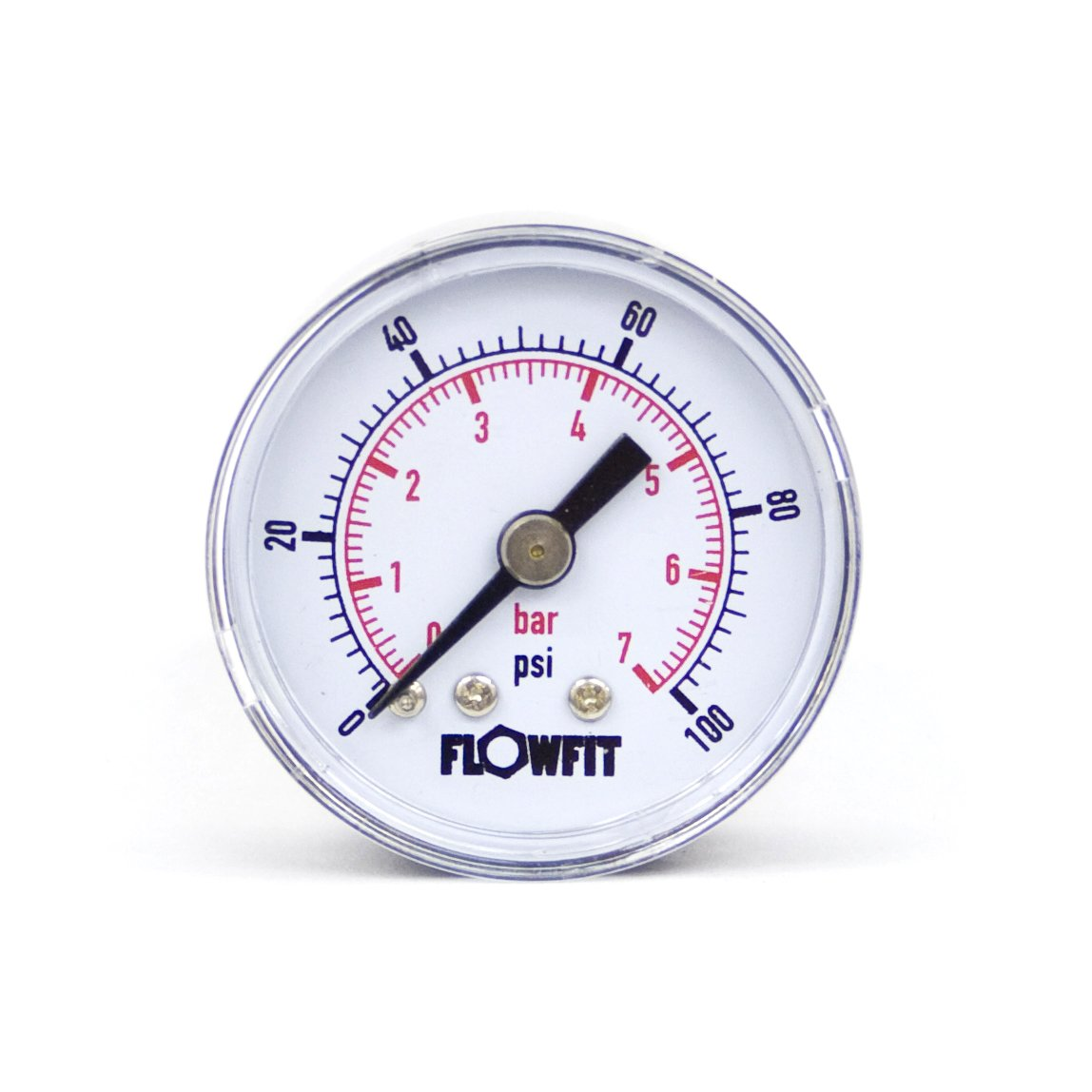 40mm Dry/Pneumatic pressure gauge 0-100 PSI (7 BAR) 1/8' bspt base entry Flowfit
