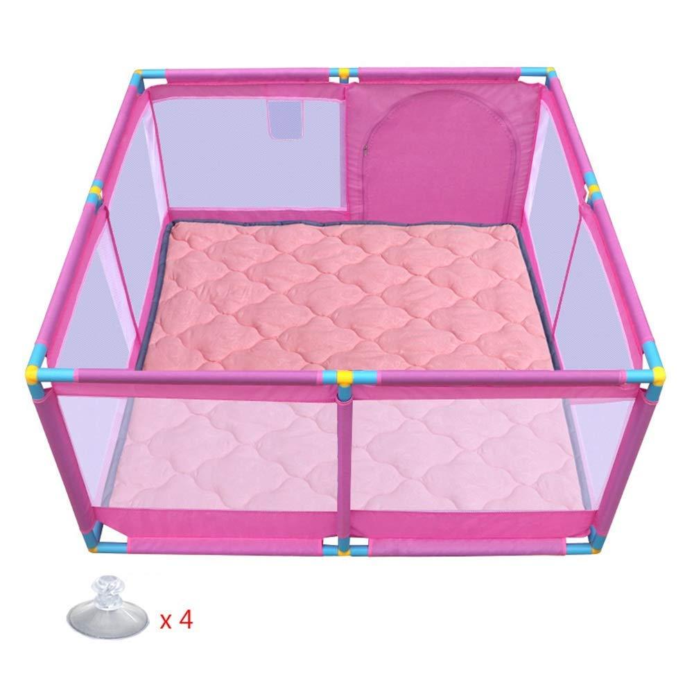 遊ぶ8パネル赤ちゃん幼児パッド付き幼児ポータブル屋内屋外幼児メッシュゲームフェンス、128×128×66センチ,D  D B07V5VKZZD