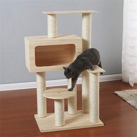Gato trepador Gato grande de madera maciza de pino Árbol que sube de sisal gato que