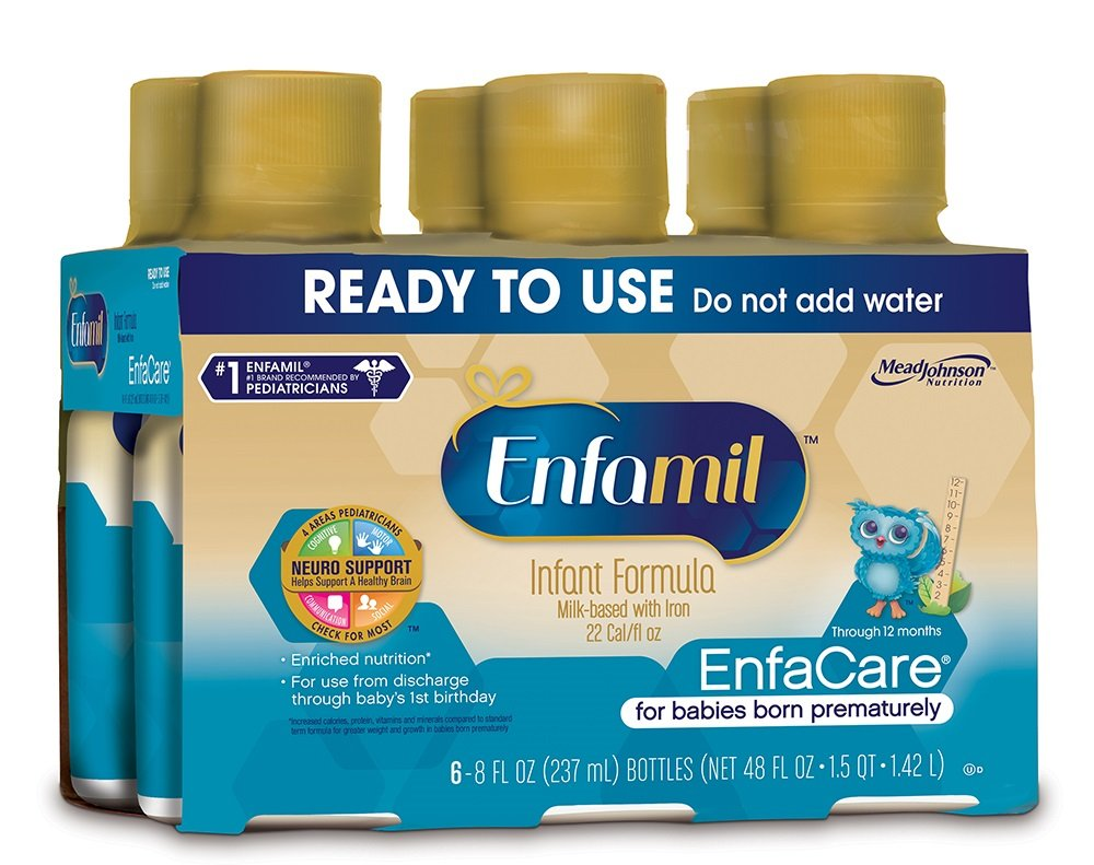Enfamil EnfaCare Ready to Feed Premature Newborn Baby Formula Milk, 8 Fluid Ounce (24 count), Omega 3 DHA by Enfamil (Image #1)