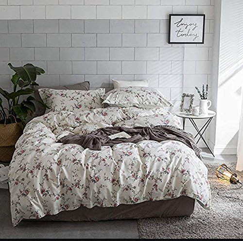 Cottage Country Style 3 Piece Duvet Cover Set Multicolored Roses Peonies Bouquet 100-percent Cotton Shabby Chic Reversible Floral Bedding (King, White)