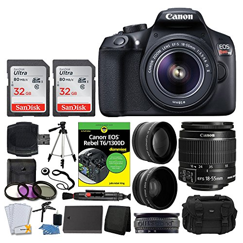 Canon EOS Rebel DSLR T6 Camera Body + Canon 18-55mm EF-S IS