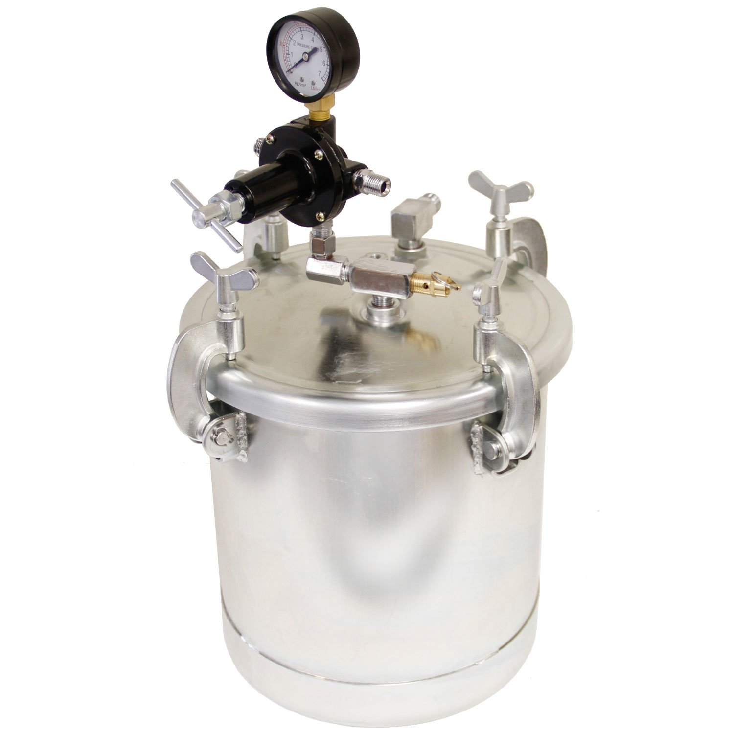 TCP Global 2-1/2 Gallon - (10 Liter) Pressure Pot Paint Tank with Regulator Pressure Gauge for Large Volume Painting and Autobody