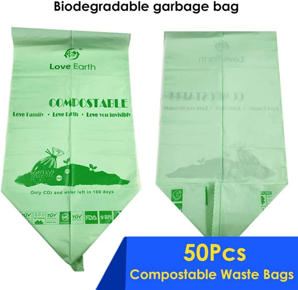 Futureshine 50 pcs Compostable Waste Bags,100 Compostable Biodegradable Kitchen Garbage Pouch,Roll Flat Mouth Garbage Bag,Trash Can Liners Kitchen Waste Bags