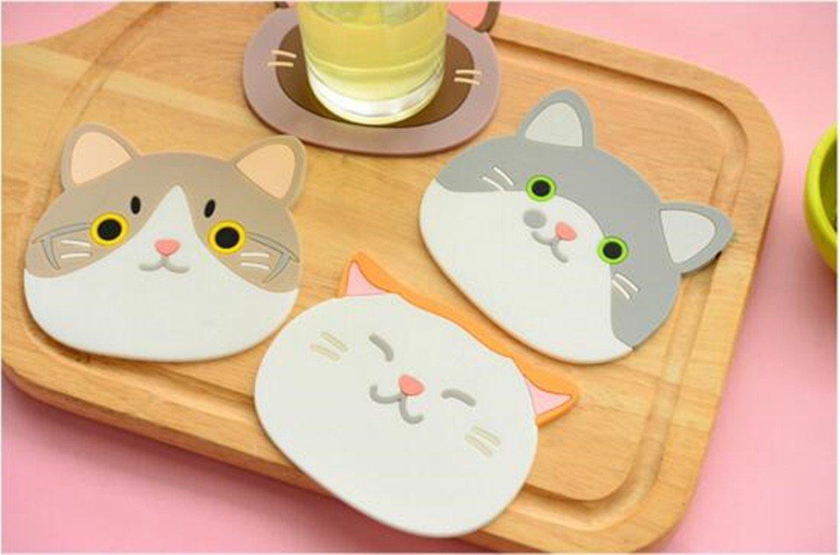 Cute Cat Tasse Silikon Untersetzer Tasse, hitzebeständig rutschfestem Cup Pad Gummi Matten für Wein Glas Tee Kaffee Home House Kitchen Decor oder eine Hochzeit Idee, 6er-Set