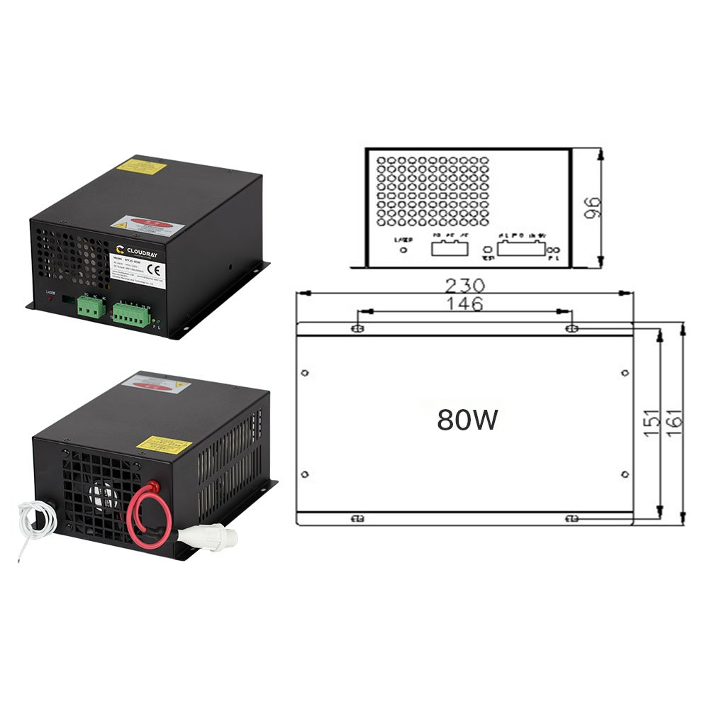 Cloudray 60W Co2 Laser Power Supply 110V for CO2 Laser Tubes MYJG-60W (Buy More Discounts)