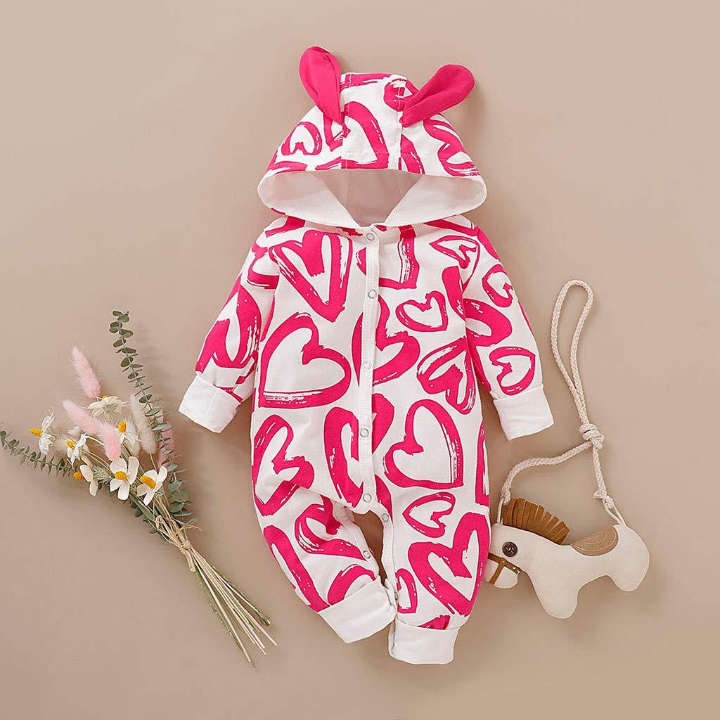 Ariestorm Infant Newborn Baby Boys Girls Heart Cartoon Hooded Romper Jumpsuit Fall Outfits