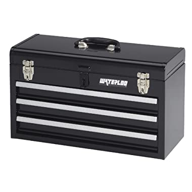 Waterloo Portable Series 3-Drawer Metal Tool Chest, Black Finish, 8.5 D x 20.5 W x 12 H