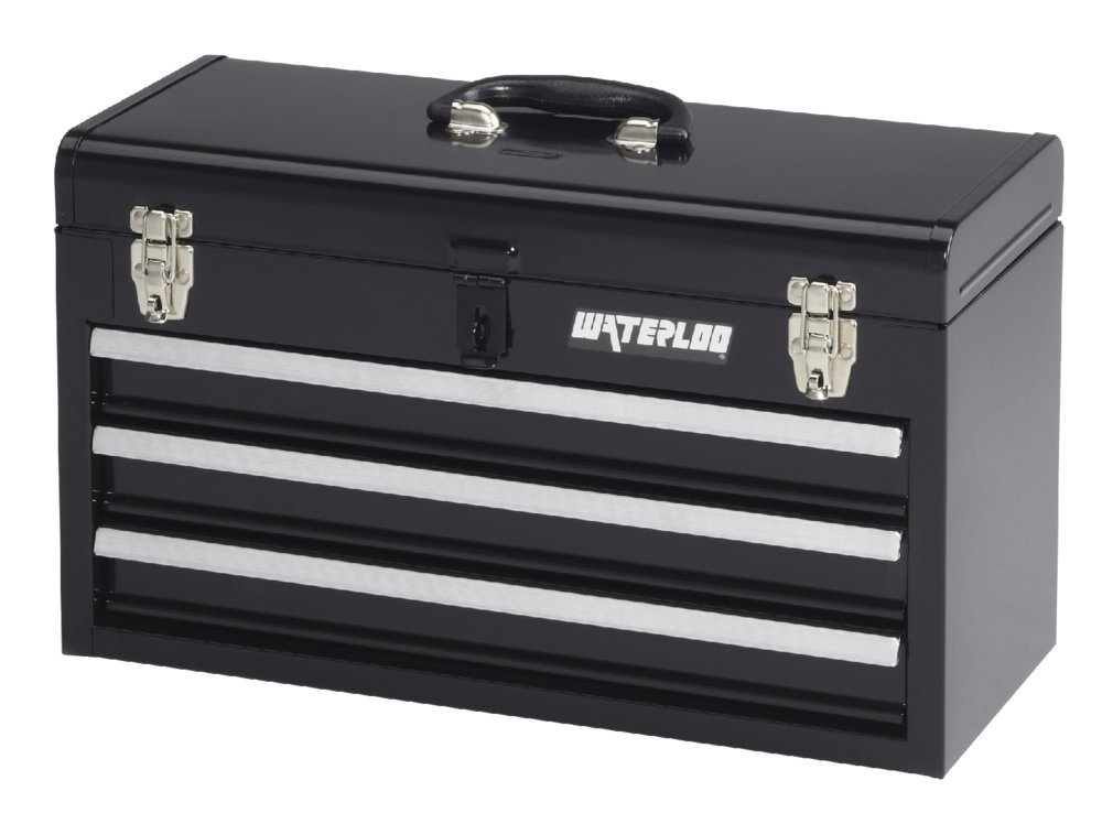 Waterloo Portable Series 3-Drawer Metal Tool Chest, Black Finish, 8.5''D x 20.5''W x 12''H