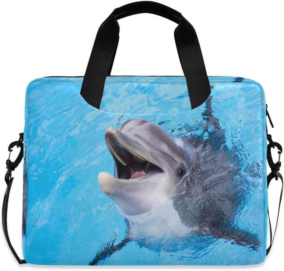 MAHU Laptop Case Bag Ocean Cute Animal Dolphin Laptop Sleeves Briefcase 13 14 15.6 inch Computer Messenger Bag with Handle Strap for Women Men Boys Girls