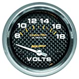 Auto Meter 4891 Carbon Fiber Electric Voltmeter Gauge