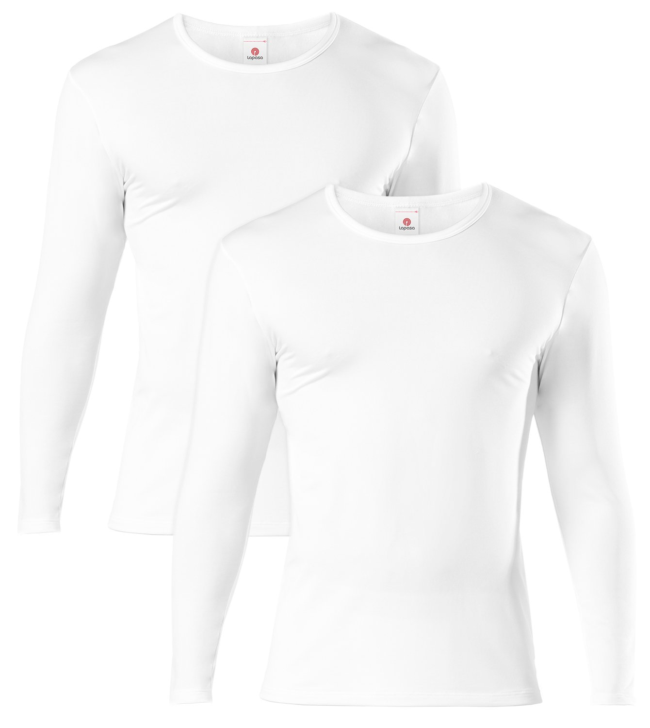 LAPASA Men's Lightweight Thermal Underwear Tops Fleece Lined Base Layer Long Sleeve Shirts 2 Pack M09 (Large, White) by LAPASA