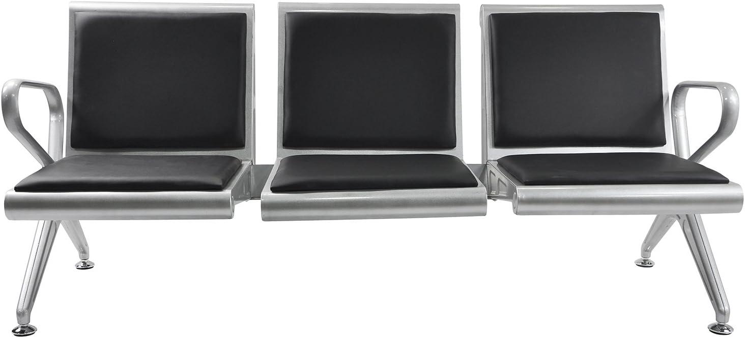 BORELAX 3-Seat Airport Office Reception Chair Salon Barber Waiting Room Bench w/Black PVC Cushion
