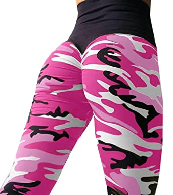 b8dd0a1cfca796 MU2M Women's High Waist Camouflage Back Ruched Butt Lift Yoga Pants  Leggings Pink US XS